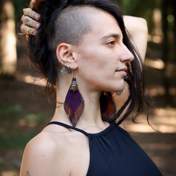 Leather Earrings by Siga Tribal